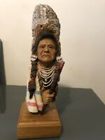 Vintage Native American Indian Statue Fred Harvey Old Joseph 3024 Collectible