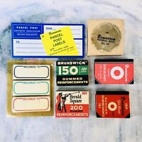 Vintage Lot Dennison Parcel Post Labels Notary Seals Gummed Reinforcements Props