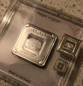 Geiger Silver Lot - 1 oz, 5 Gram and 1 Gram Squares - .999 Fine Bullion Bars