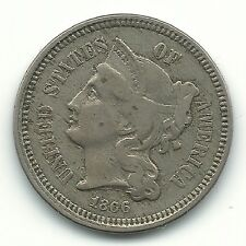 BETTER GRADE 1866 THREE CENT NICKEL COIN-OBVERSE PROFILE ON REVERSE-DIE CHIPS