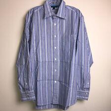 BODEN Mens Dress Shirt Large Purple Blue Stripes Long Sleeve Cotton Button Down