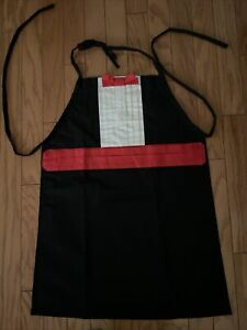 BIB APRON TUXEDO LOOK,  BLAC RED WHITE WITH RED BOWTIE, FORMAL LOOK