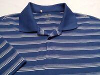 Adidas Climacool Mens Large Short Sleeve Blue Striped Athletic Polo Golf Shirt