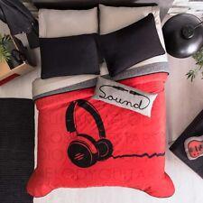 Headphones Teens Boys Reversible Comforter Set And Sheet Set 9 Pcs Queen Size