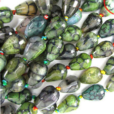 """10x14mm faceted dragon vein agate teardrop beads 5.5"""" strand multicolor"""