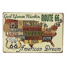 Metal Sign American Dream Retro Tin License Plate Poster Wall Decor Route 66 DSU