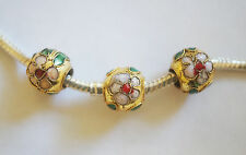 3 Cloisonne Charm Beads - Gold/Flower - 10mm - For European/Charm Bracelet