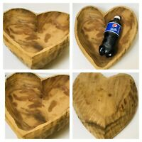 Hand Carved Burl Wooden Large Bowl Made From Solid Piece Of Wood Heart Shaped