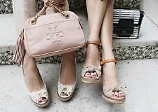 Tory Burch Macy Beige Canvas Leather Wedge Espadrille Sandal Gold Wash Shoe 10