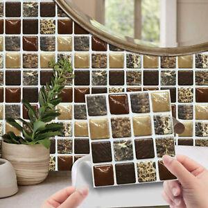 20 Pcs 3D Selbstklebend Mosaik Kachel Aufkleber Küche Badezimmer Wand Dekor.