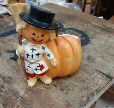 Vintage Halloween Jol Scarecrow Pumpkin Relpo Planter Japan sweet