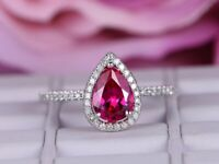 1.50Ct Pear Cut Pink Sapphire Diamond Halo Engagement Ring 14k White Gold Finish