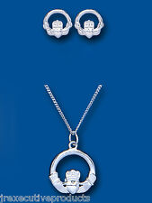 Solid Silver Claddagh Set Pendant and Stud Earrings 925 Hallmark