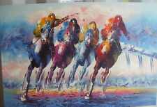 "COLOURFUL HORSE RACING ART OIL PAINTING 24X36"" STRETCHED"