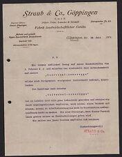 GÖPPINGEN, Brief 1907, Fabrik landwirtschaftlicher Geräte Straub & Co. G.m.b.H.