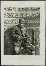 1889 antica stampa-Londra Wormwood SCRUBS Prigione Detenuto vita polsini a mano (237)