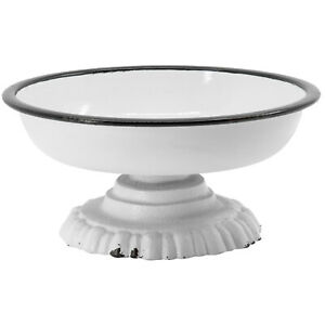 Small Round Metal Pedestal Dish with Cast-Iron Base, Solid White/Black Rim, 6""