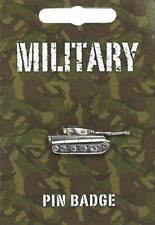 Military Panzer Tank Silver Pewter Lapel Pin Badge
