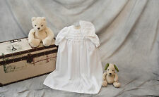 "Gently Smocked Christening Gown with Pearl Accent - ""Diana"" in Longer Length"