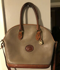 Vintage Dooney And Bourke Taupe Leather XL Dome Satchel EUC