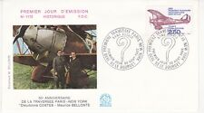 Enveloppe 1er jour FDC n°1172- 1980 - Traversée Paris-New-York Aviation