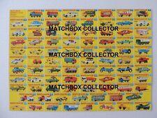 Matchbox Lesney1-75 all models  Type F  Poster Shop Sign Advert Leaflet