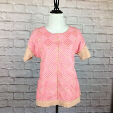 J Crew Top Womens XS Black Label Pink Embroidered Chevron Stretchy Cotton