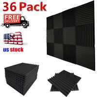 "36 Pack Acoustic Foam Panel Wedge Studio Soundproofing Foam Wall Tiles 12X12X1"""