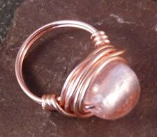 Handmade Pink Silver Lined Glass Wire Wrapped Ring - UK Size M