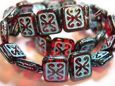 15 Garnet Red w/ Turquoise Wash Czech Glass Rectangle Beads 11x12mm