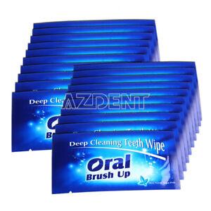 500 Packs Finger Teeth Wipes Oral Care Brush Dental Teeth Deep Cleaning Whitener