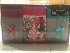 BROWNING MERINO WOOL BLEND LADIES 3 PAIR GIFT BOX SOCKS SIZE 9-11