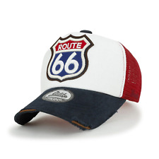 ililily Route 66 Embroidery Patch Casual Mesh Baseball Cap Trucker Hat, Meduim