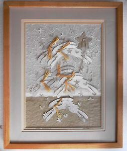 "original artwork  Bunnies ""Star Jumping"" paper collage, artist Gay Hart,  rabbit"