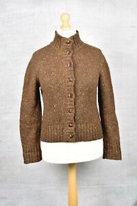 PERUVIAN CONNECTION Brown chunky flecked knit wool/alpaca peru cardigan MEDIUM