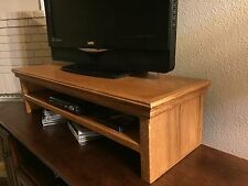TV LCD LED Traditional Oak Riser Stand Double Tier Medium Finish