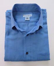 Gene Meyer New York Men's Cotton Solid Blue Italian Casual Shirt Euro 50 Medium