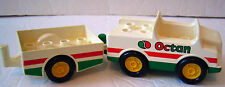 Lego Duplo Vintage White/Green OCTAN CAR & TRAILER Accessory Vehicle 2-Piece Lot