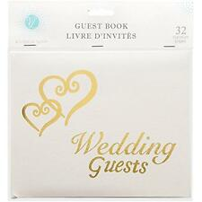 Linked Hearts Wedding Guest Book Gold, New, Free Shipping