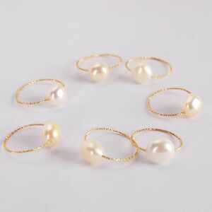 1pcs 11-12mm White Baroque Pearl 18k Ring Contracted style Jewelry Elegant