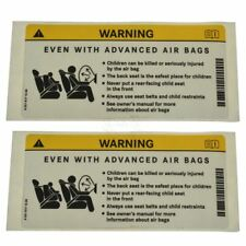 OEM 2218171220 Air Bag Warning Decal Sunvisor Mounted Pair for Mercedes Benz New