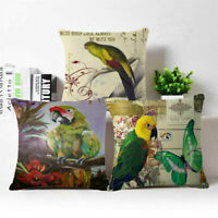Parrot Linen Cotton Fashion Throw Pillow Case Cushion Cover Home Sofa Decor