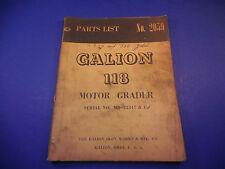 Galion Motor Grader No.118 Parts List Manual No. 2059 Serial # MD-22347 & Up