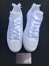 Wedding Bridal Converse Trainers Bling Crystal Custom Personalised 3 4 5 6 7 8