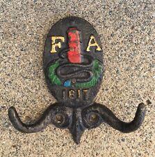 1817~Cast Iron~FA Philadelphia Fire Assn Fire Mark Emblem~Double Wall Coat Hook