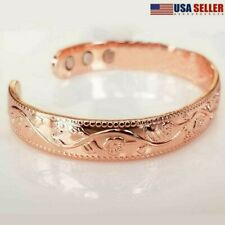 Women Pure Solid Copper Magnetic Bracelet Arthritis Bangle Pain Relief Rose Gift