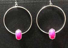 """Silver & Hot Pink Stone Earrings By Isabel J Scott 2"""" Long NEW"""