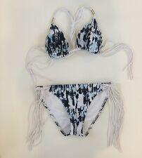 Abercrombie Swim Blue/White Tie Dye Fringe Bikini, Small/Medium