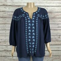 Roaman's Floral Paisley Peasant Shirt Top 2X 26W 28W PLUS Navy Blue Embroidered