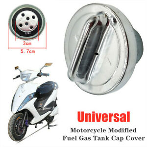 Universal Modified Scooter Motorcycle Fuel Gas Tank Cap Cover Silver Aluminum